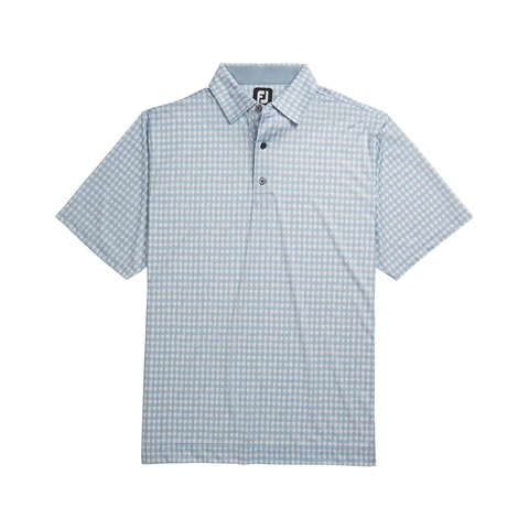 FootJoy Lisle Gingham Fray Blue Fog/White Highlands Logo Print Polo