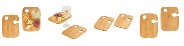 Highlands Bamboo 2-piece Wine Plate Set
