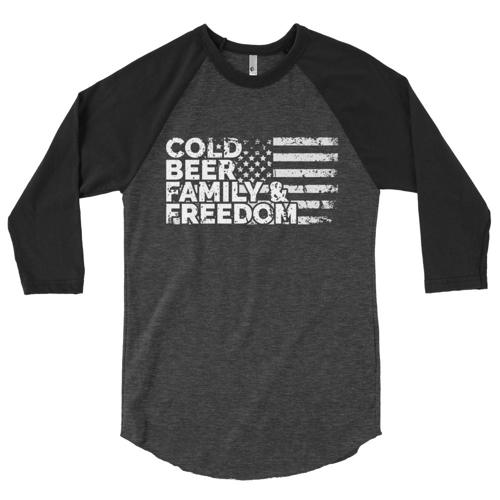 Beer, Family, & Freedom - 3/4 Sleeve