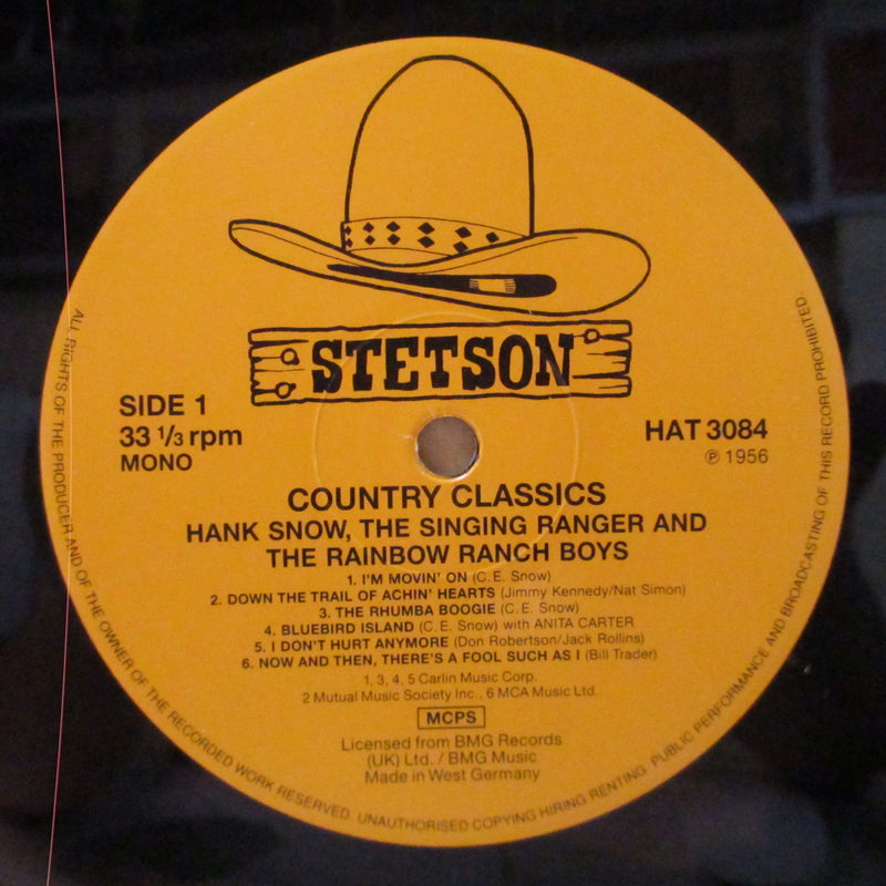 HANK SNOW (ハンク・スノウ)  - Country Classics (UK 80's Re Mono LP)