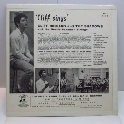 CLIFF RICHARD & THE SHADOWS - Cliff Sings (UK Orig.Mono LP/CFS)