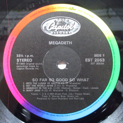MEGADEATH - So Far, So Good... So What! (UK Orig.LP)