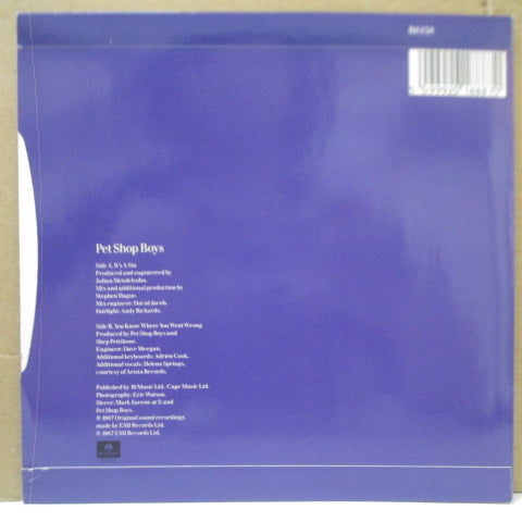 "PET SHOP BOYS - It's A Sin (UK Orig.7""+PS/Paper Lbl.)"