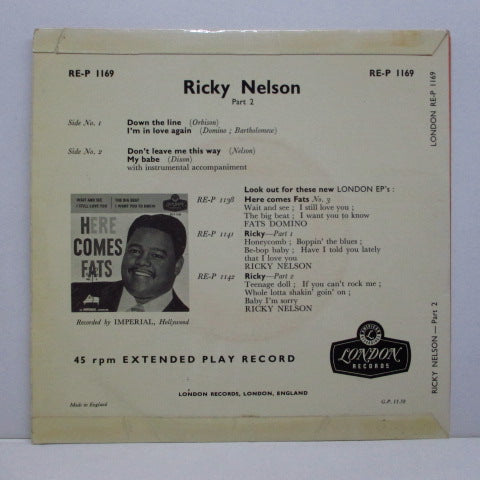 RICKY NELSON (RICK NELSON) - Ricky Nelson Part 2 (UK 2nd Press EP)