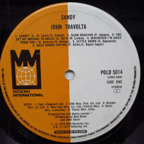 JOHN TRAVOLTA - Sandy (UK Orig.LP)
