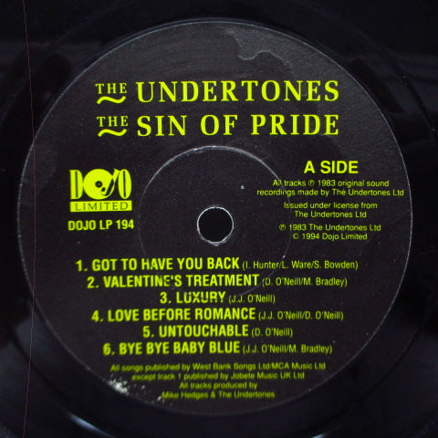 "UNDERTONES, THE - The Sin Of Pride (UK 500 Ltd.Reissue 10"")"