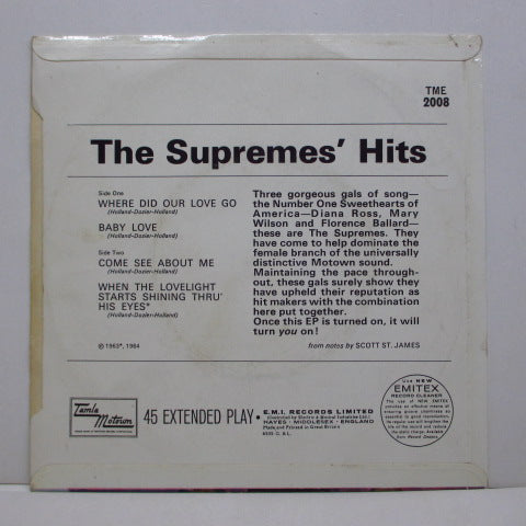 SUPREMES (シュープリームス)  - The Supremes' Hits (UK Orig.Round Center EP/CFS)