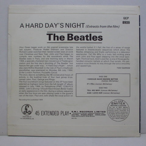 BEATLES - Extracts From The Film A Hard Day's Night (UK 80's Reissue EP/FS)