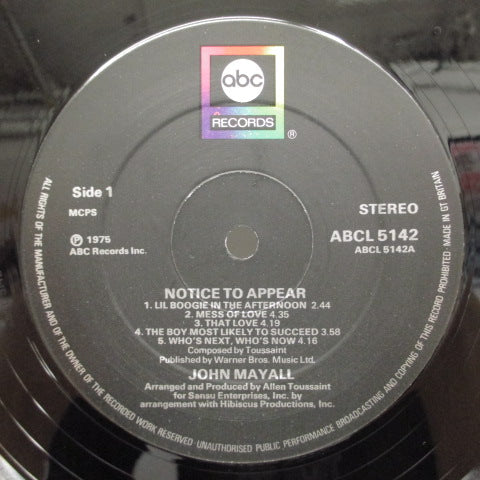 JOHN MAYALL - Notice To Appear (UK:Orig.)