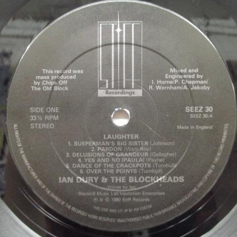 IAN DURY & THE BLOCKHEADS - Laughter (UK Orig.LP+John & Mickey Inner)