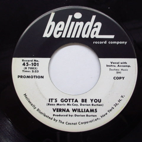 VERNA WILLIAMS - It's Gotta Be You / I'll Wait (Promo)