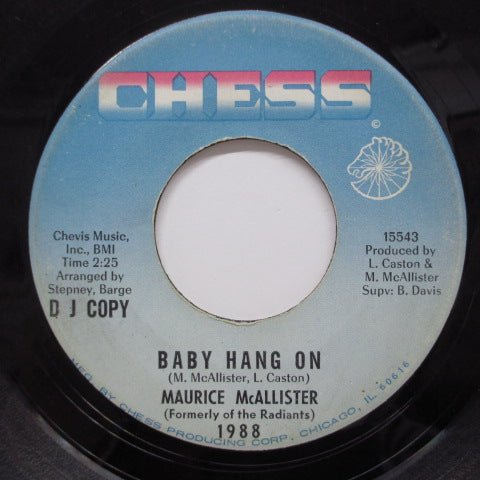 MAURICE McALLISTER - Baby Hang On  (One-Side Promo)