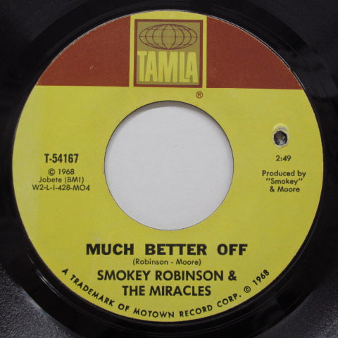 MIRACLES (SMOKEY ROBINSON & THE) - Yester Love (US Orig./黒色印刷)