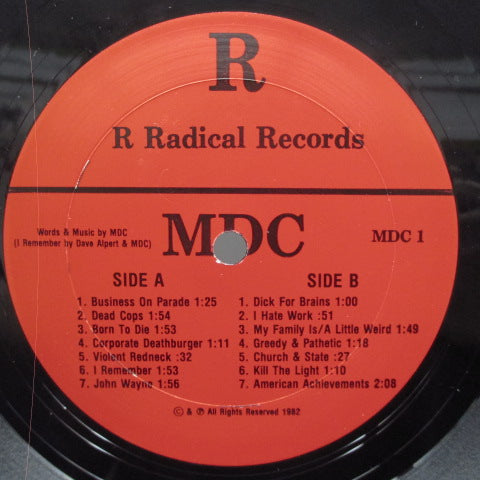 MDC - Millions Of Dead Cops (US Reissue LP/黒ロゴ薄紙CVR)