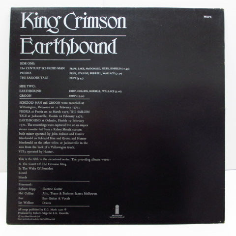 KING CRIMSON - Earthbound (UK:Orig.)