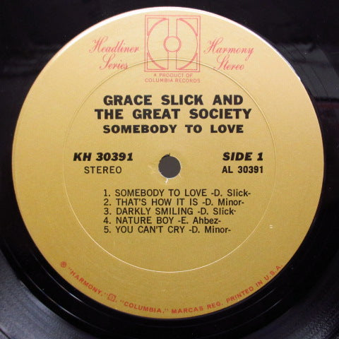 GREAT SOCIETY (GRACE SLICK) - Somebody To Love (US:Orig.)