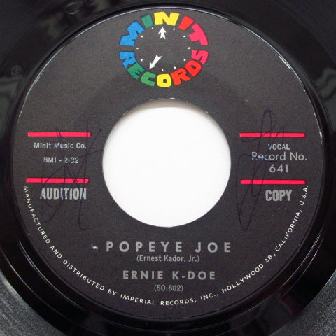 ERNIE K-DOE - Popeye Joe / Come On Home (Promo)