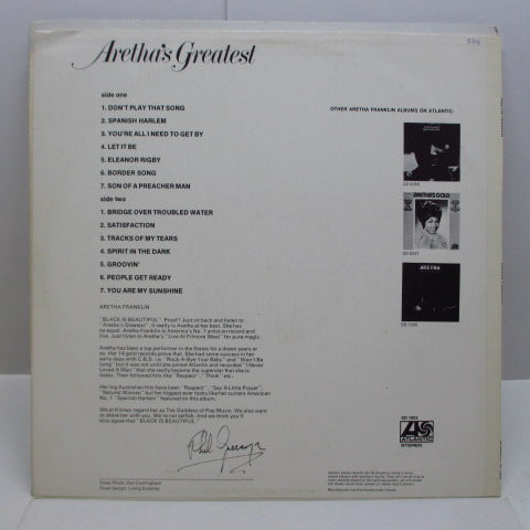 ARETHA FRANKLIN - Aretha's Greatest Hits (OZ Orig/CS)
