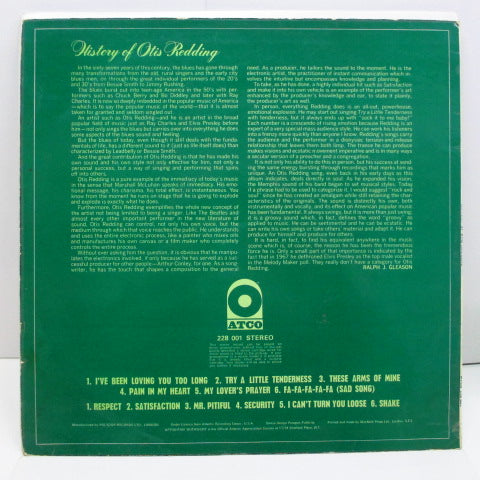 OTIS REDDING - History Of Otis Redding (UK '69 Reissue Stereo/CS)