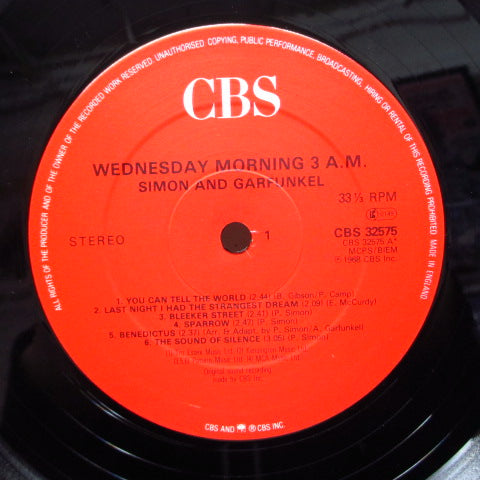 SIMON & GARFUNKEL - Wednesday Morning, 3 A.M. (UK 80's Reissue/Red Label/No Barcode)