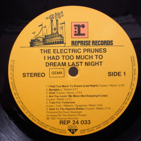 ELECTRIC PRUNES - I Had Too Much To Dream... (GERMAN Re Stereo LP/No Title Credit No Barcord CVR)