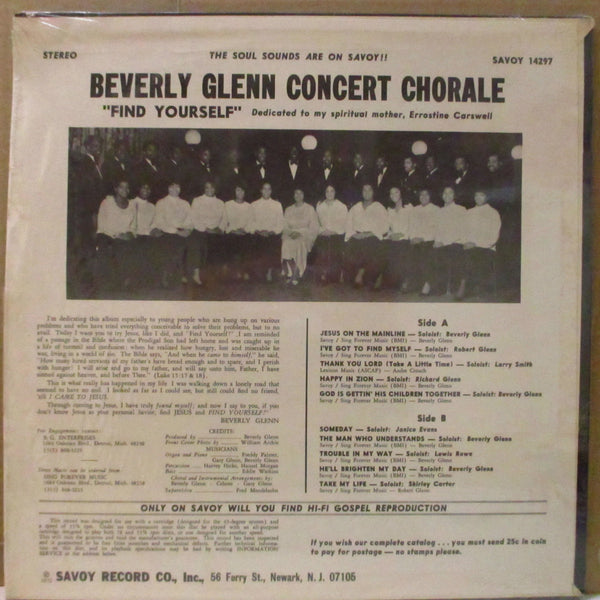 BEVERLY GLENN CONCERT CHORALE (ビヴァリー・グレン・コンサート・コラール )  - Find Yourself (US Orig.Stereo LP)