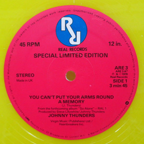 "JOHNNY THUNDERS - You Can't Put Your Arms Around A Memory (UK Ltd.Yellow Vinyl 12"")"