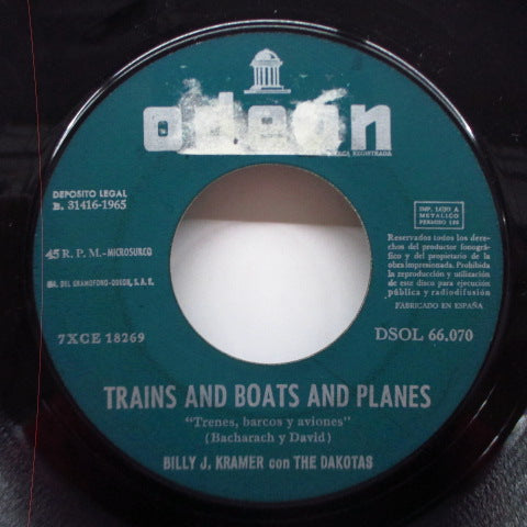 "BILLY J.KRAMER WITH THE DAKOTAS - Trains And Boats And Planes (Spain Orig.7""+LPS)"