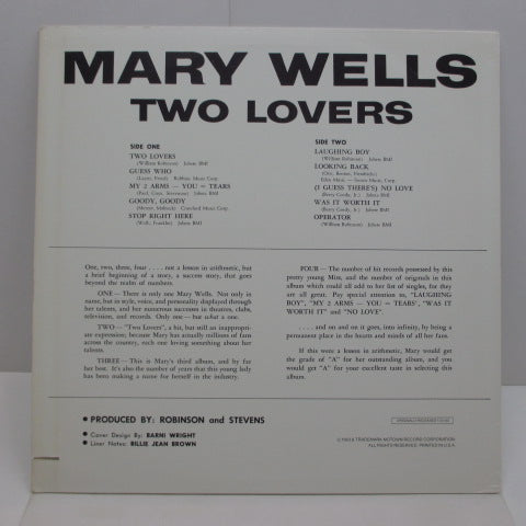 MARY WELLS - Two Lovers & Other Great Hits (US 80's Re LP/No Barcode)