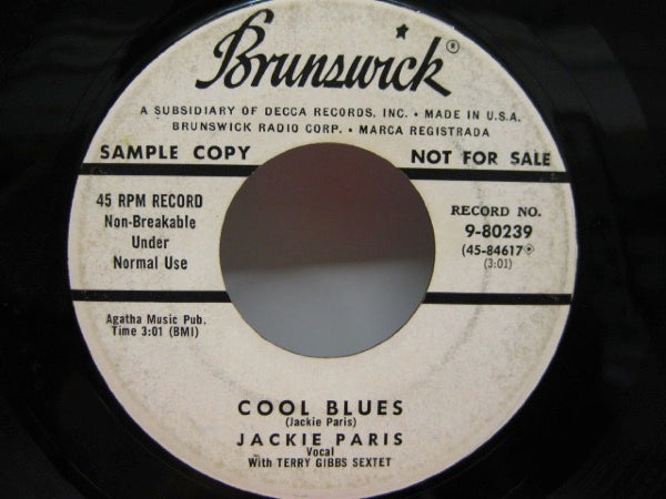 JACKIE PARIS - Cool Blues / You Go To My Head