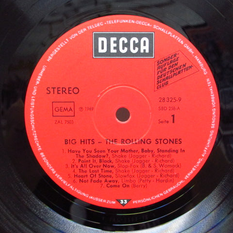 ROLLING STONES - Big Hits (German 70's Decca Record Club LP/CS)