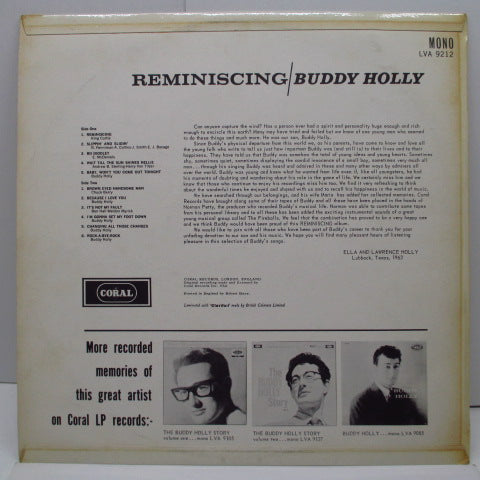 BUDDY HOLLY - Reminiscing (UK Orig.Mono LP/CFS)