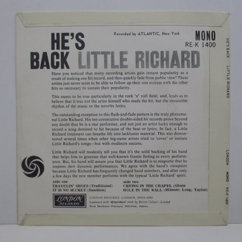 LITTLE RICHARD - He's Back  (UK Orig.EP)
