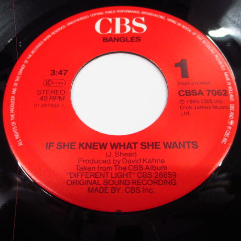 "BANGLES 、 THE-If She Knew What She Wants (Dutch Orig.7 "")"