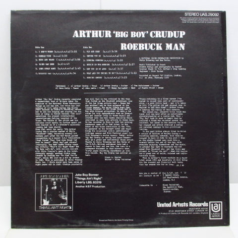 "ARTHUR ""BIG BOY"" CRUDUP - Roebuck Man (UK Orig.Stereo LP/CS)"