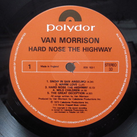VAN MORRISON - Hard Nose The Highway (UK Polydor Re LP/Barcode SIngle CVR)