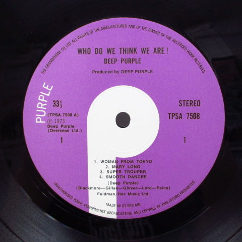 DEEP PURPLE - Who Do We Think We Are (UK Orig.LP/CGS)
