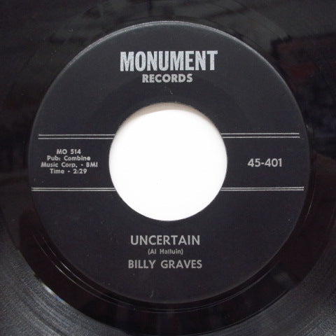 BILLY GRAVES - The Shag / Uncertain
