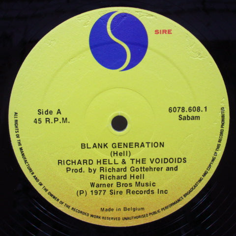 "RICHARD HELL AND THE VOIDOIDS - Blank Generation (Belgium Orig.12"")"