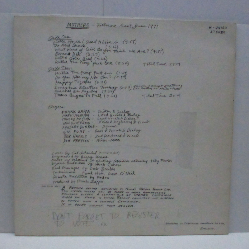 FRANK ZAPPA (MOTHERS OF INVENTION) - Fillmore East - June 1971 (UK Orig.LP)