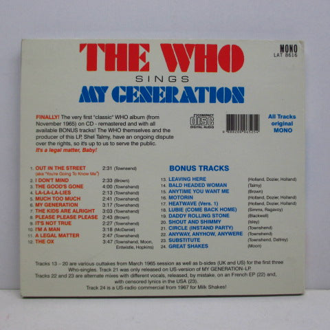 WHO - My Generation (EU Unofficial Digipack CD)