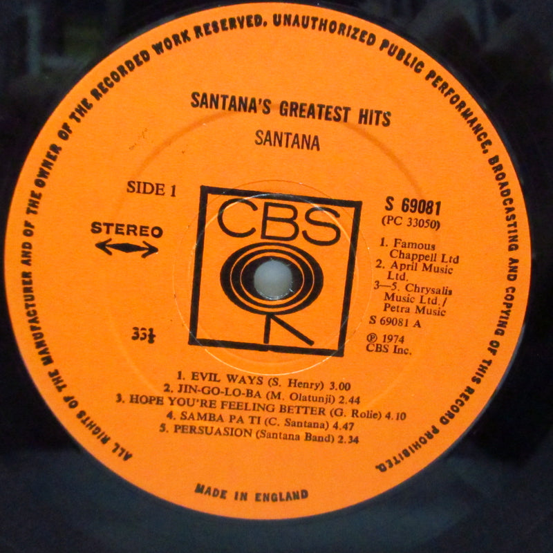 SANTANA - Santana's Greatest Hits (UK Orig.LP/Stickered CVR)