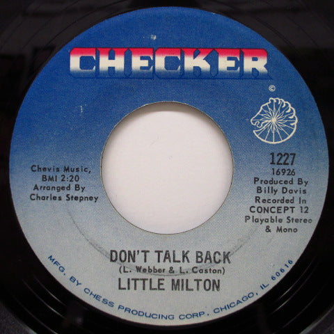 LITTLE MILTON - Don't Talk Back / Baby I Love You