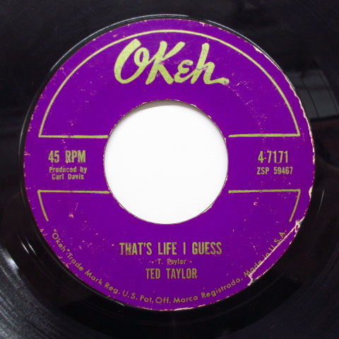 TED TAYLOR (テッド・テイラー)  - That's Life I Guess (Orig.LIned Label)