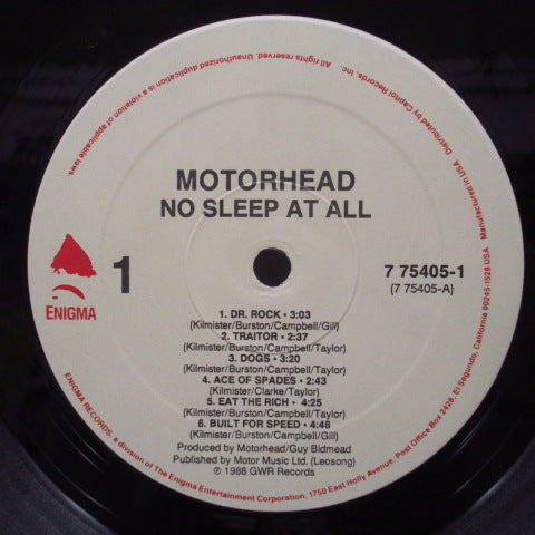 MOTORHEAD - No Sleep At All (US Orig.LP)