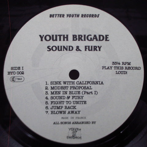 YOUTH BRIGADE - Sound & Fury (UK Re LP/Southern Studio)