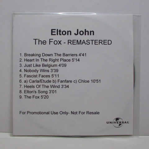 ELTON JOHN - The Fox - Remastered (UK Advance Promo)