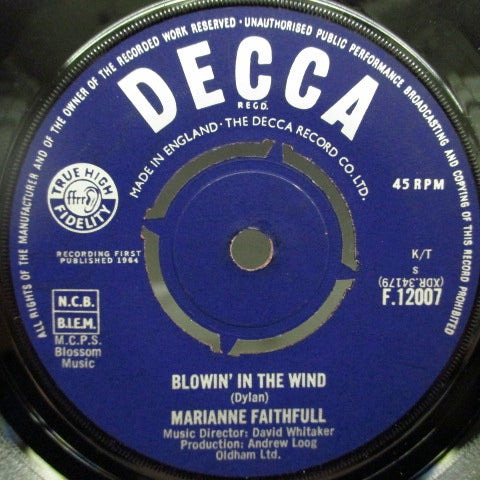 MARIANNE FAITHFULL - Blowin' In The Wind (UK Orig)