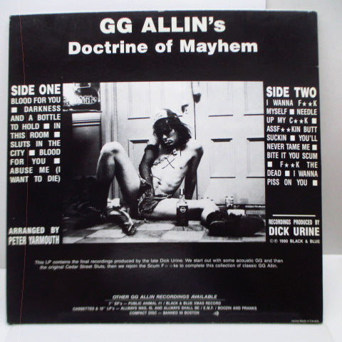 GG ALLIN  - GG Allin's Doctrine Of Mayhem (US Orig.LP)