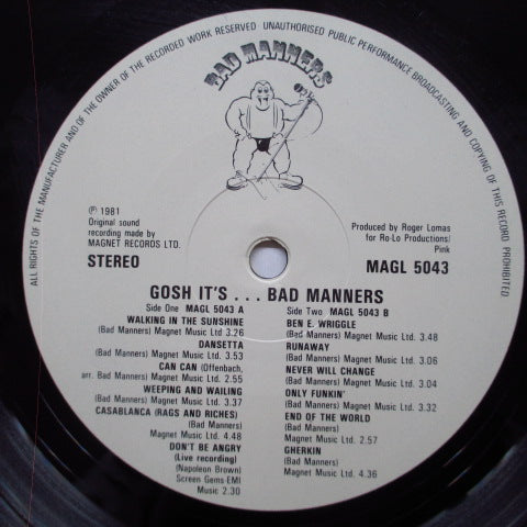 BAD MANNERS - Gosh It's... (UK Orig.LP+Poster)